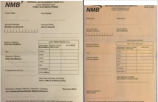 NMB Withdrawal And Deposit Slips